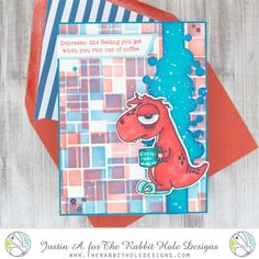 This project uses the Caffeinated- Dino set, the Perfectly Blended set and the Drop It Stencil by The Rabbit Hole Designs, LLC. Check out my Instagram for more details, and follow me for more inspiration!