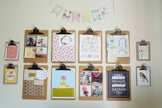Love this clipboard wall - maybe at command center instead of bulletin boards?