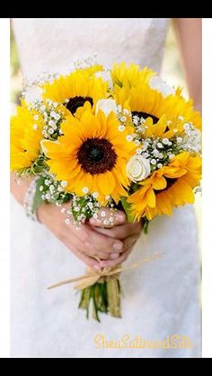 Sunflower Bridal Bouquet This beautiful, romantic bouquet is perfect for any summer wedding. We use top quality Sunflower Bridesmaid Bouquet, Sunflower Bouquets, Flower Bouquet Wedding, Rose Bouquet, Bridesmaid Bouquets, Sunflower Dress, Dress Wedding, Sunflower Boutonniere, Tulip Bouquet