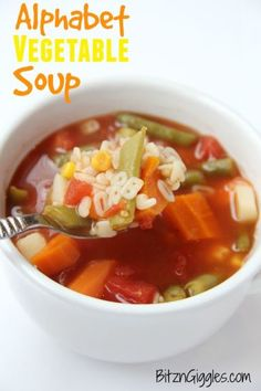 Alphabet Vegetable Soup - A delicious tomato-based soup filled with veggies and alphabet pasta. SO quick and easy to make!