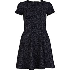 River Island Navy floral jacquard cut out skater dress ($49) ❤ liked on Polyvore
