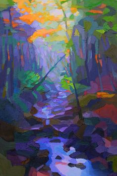 "Painting : ""Foggy Stream"" (Original art by Brian Kiernan) Colorful Paintings, Watercolor Paintings, Art Corner, Tree Art, Landscape Art, Pottery Art, Unique Art, Painting Inspiration, Les Oeuvres"
