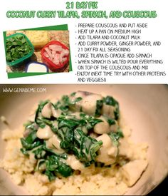 #21dayfix YUMMY Coconut Curry Tilapia, Spinach, and Couscous 21 Day Fix recipe via www.geniabeme.com