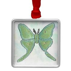 Luna Moth Ornament from Original Watercolor Painting by MBrothertonArt on Etsy