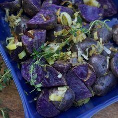 Dijon Roasted Purple Potatoes are gorgeous gems, easy to make, and have amazing health benefits, made with olive oil, garlic, leeks, and fresh herbs.