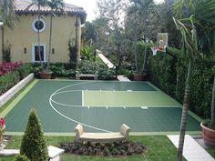 Check out this two tone Green Basketball Half Court! Great Backyard fun all year 'round! Backyard Sports, Backyard Basketball, Backyard Games, Backyard Landscaping, Backyard Ideas, Buy Basketball, Pool Ideas, Landscaping Ideas, Basketball Court Flooring