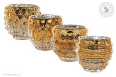 Crystal and gold tea light holders Gold Tea Light Holders, Candle Holders, Candelabra, Tea Lights, Shot Glass, Candles, Crystals, Lighting, Tableware