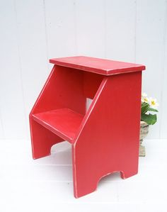 Items similar to Vintage Style Two Step Stool in Red Handmade by Circle Creek Home on Etsy  sc 1 st  Pinterest & childu0027s step stool unfinished | kids bath | Pinterest | Children s ... islam-shia.org