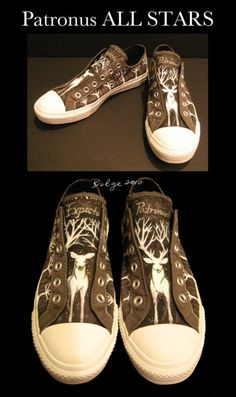 these took me forever to finally upload. Weirdly enough these didn't start off as a Harry Potter themed pair. Patronus Converse All Stars Harry Potter Shoes, Harry Potter Style, Harry Potter Outfits, Harry Potter Fandom, Mode Geek, Yer A Wizard Harry, Painted Shoes, Geek Chic, Converse All Star