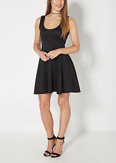 Black Scuba Knit Skater Dress