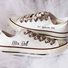 Stunning customised Wedding Converse for your perfect day!When it comes to custom wedding Converse we do it best. We are delighted to be partnered with the only company in the UK to with propriety techniques that enable us to emblazon Converse with the wording of your choice. You can choose the same wording on both shoes, or opt to have different wording on each shoe eg. Mrs Smith on one shoe and your wedding date on the other shoe. The text on the shoe is black. You can add white ribbon…