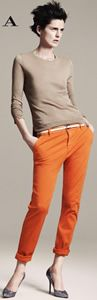 Joining the campaign fever, Zara releases its spring 2011 advertisements starring leading model Stella Tennant. Lensed by David Sims, Stella rocks Zara's hip… Mode Outfits, Fashion Outfits, Fashion Trends, Fashion Styles, Fall Outfits, Orange Pants Outfit, Coral Pants, Yellow Pants, Orange Skirt