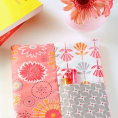 For a quick gift, cover a standard spiral notebook with fabric.Fabrics are  from the Gracie Girl collection by Kassidy and Lori Holt for Riley Blake  Designs [1].   [1] http://rileyblakedesigns.com