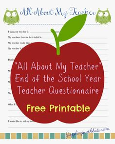 Free Teacher Printable Questionnaire for End of School Year Teacher's Gift – Juggling With Kids