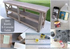 Diy sofa table ana white behind console table plans diy console Industrial Sofa Table, Rustic Console Tables, Rustic Industrial, Rustic Table, Rustic Modern, Furniture Plans, Home Furniture, Table Furniture, Farmhouse Sofa Table