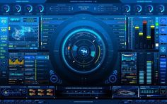 Advanced User Interface - status screen (a tad complicated, but some cool elements) Hi Tech Wallpaper, Music Wallpaper, Wallpaper Backgrounds, Desktop Wallpapers, Superman Wallpaper, Computer Wallpaper, Screen Wallpaper, Welcome To The Future, Electro Music