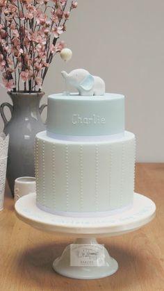 Boys Christening Cake 2 tier Christening Cake Double Barrel Cake Baby Elephant Christening Cake