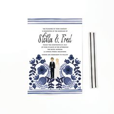 The Stevie Collection by colormecarla // Custom Hand Painted Wedding invite // via Etsy