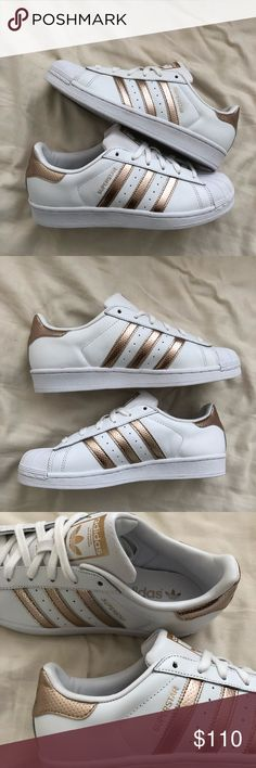 Adidas Superstar Copper Rose Gold 7.5 Full Leather A full-leather body version of the rose gold/ copper Superstars! Because it's leather inside instead of fabric, inner material won't tear. Brand new, unworn in box. Women's size US 7.5  Materials: leather upper and rubber toe adidas Shoes Sneakers