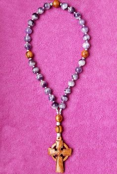 ** SOLD ** Anglican Rosary / Prayer Beads, Olive Wood and Sage Amethyst.