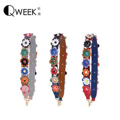 Bag Strap 2017 New Strap You Fashion PU Leather Handbag Europe America Rivet Belt Tote Bag Parts Accessories Flowers Straps 90cm