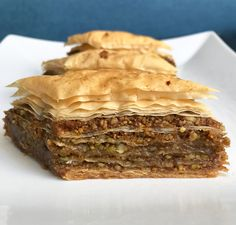 Baklava is a Mediterranean dessert with layers of phyllo dough, nuts and honey. Learn to make your own with our guide to baking baklava. No Bake Desserts, Just Desserts, Delicious Desserts, Dessert Recipes, Armenian Recipes, Turkish Recipes, Honey Recipes, Greek Recipes, Pistachio Baklava