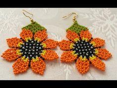 DIY/HUİCHOL ÇİÇEK KÜPE/HUİCHOL BEADED FLOWER EARRİNGS - YouTube Seed Bead Earrings, Flower Earrings, Beaded Earrings, Beaded Bracelets, Seed Beads, Seed Bead Tutorials, Beading Tutorials, Diy Schmuck, Schmuck Design