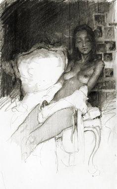 Graphite, 5 x 8 inch sketch in Moleskine - Jeremy Mann