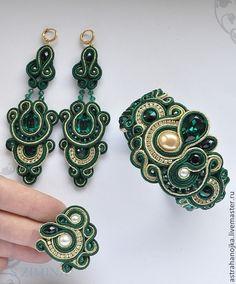 Браслет серьги кольцо Зеленый цветок