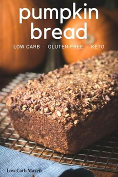 Amazing gluten-free pumpkin bread recipe made with coconut flour is low carb and sugar-free. via @lowcarbmaven
