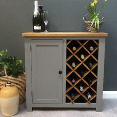 Grey Painted Oak Wine Rack with Storage / Drinks Cabinet Cupboard / Wickwar New Wine Rack Table, Oak Wine Rack, Wine Rack Storage, Wine Rack Cabinet, Wood Wine Racks, Drinks Cabinet, Diy Wine Racks, Homemade Wine Racks, Wine Rack Bar