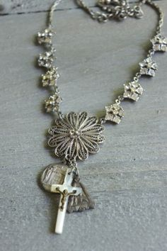Three Blessings-Vintage assemblage necklace by frenchfeatherdesigns