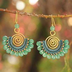 Wire Jewelry Beaded dangle earrings, 'Kiwi Kiss' - Beaded Dangle Earrings with Quartz - Beaded Dangle Earrings with Quartz Wire Wrapped Jewelry, Wire Jewelry, Beaded Jewelry, Handmade Jewelry, Yoga Jewelry, Beaded Necklace, Jewellery, Beaded Chandelier, Chandelier Earrings