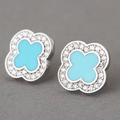 Turquoise Sterling Silver Clover Earrings from Kellinsilver.com – clover jewelry, four leaf clover earrings, 4 leaf clover earrings