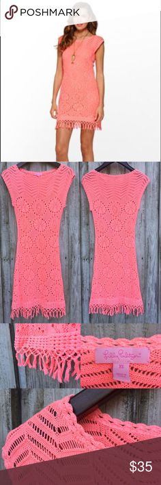 Lilly Pulitzer Yummy Lemon Adabelle Sweater Dress Color is between neon pink and coral | Style: 53114 | Condition: pre-owned. Missing inside lining. Top near neck and bottom near tassels is whitening from use | NO TRADES Lilly Pulitzer Dresses