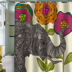 This website (DENY Designs) has the neatest shower curtains, duvet covers and other things for home. This website (DENY Designs) has the neatest shower curtains, duvet covers and other things… Home Design, Home Interior Design, Design Ideas, Elephant Shower Curtains, Elephant Bathroom Decor, Shower Curtain Art, Elephant Love, Elephant Stuff, Colorful Elephant