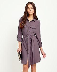 Womens smoked grape fashion union shirt dress from Lipsy - £25 at ClothingByColour.com