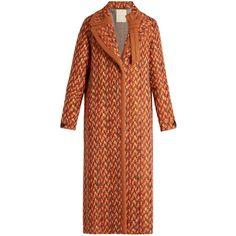 Marco De Vincenzo Wool-blend tweed coat ($2,083) ❤ liked on Polyvore featuring outerwear, coats, orange multi, shrug cardigan, brown coat, wool blend coat, tweed wool coat and ruffle coat