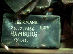 One of the many suitcases found at the camp when the Soviet troops arrived.