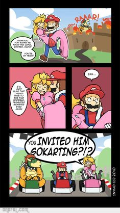 Mario spends most of his life saving the Princess from Bowser. But then Mario had a change of. Mario Funny, Mario Comics, Video Game Logic, Cartoon Photo, Mario Brothers, Know Your Meme, Gaming Memes, Super Mario Bros, Super Mario Memes