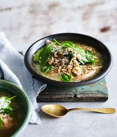 Australian Gourmet Traveller fast recipe for chicken with spelt and spinach.