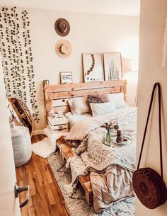 Boho Bedroom Discover Pallet Bed - The Oversized Queen - Includes Headboard and Platform Pallet Platform Bed queen Room Ideas Bedroom, Cozy Bedroom, Bedroom Decor, Bedroom Designs, Master Bedroom, Bed Room, Master Suite, Bedroom Furniture, Pallet Furniture