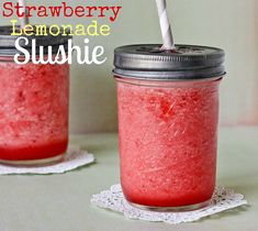 Non-Alcoholic Strawberry Lemonade Slushie by cookbookqueen Refreshing Drinks, Summer Drinks, Fun Drinks, Beverages, Summertime Drinks, Healthy Drinks, Summer Fun, Summer Time, Slushies