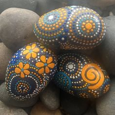 Painted Rock, Natural Home Decor, Garden Art, Mandala Inspired Design, Free US…
