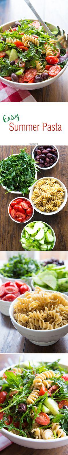 Easy Pasta Salad with Cucumbers & Tomatoes - delish! #easypastasalad #pastasalad #summerrecipes