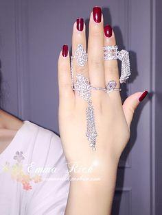 Корея покупке подлинного циркон кольцо темперамент цепи кисточкой женщин ретро дворец Кольцо микро проложить кольцо хвост кольцом суставов - Taobao