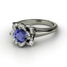 Round Blue Saphire 14K White Gold Ring with White Saphire