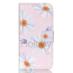 Daisy Pattern Wallet Style Magnetic Flip Stand TPU+ PU Leather Case for iPhone 5C