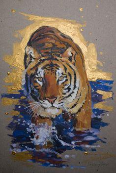 Golden tiger Painting by Oleksii Gnievyshev Wildlife Paintings, Wildlife Art, Animal Paintings, Animal Drawings, Indian Paintings, Oil Paintings, Big Cats Art, Cat Art, Tatoo Tiger
