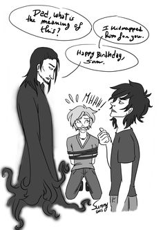 """source: http://bailci.tumblr.com/ """"…"""" """"Just wait til he gest hungry, then give him the pomegranates"""" """"…"""" """"He'll be yours. FOREVER."""" """"Dad, you promised."""" (Just a silly doodle for Nico's birthday (maybe). It looked better as a sketch, actually. Inspired by gerardwayismyonlyfriend <3 )"""